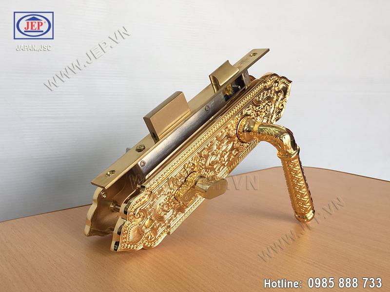 Khóa cửa tay gạt mạ vàng JP-801-24K - ảnh 6