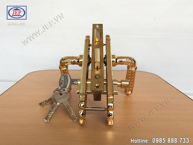 Khóa tay gạt bằng đồng mạ vàng JP-501-24K - ảnh 3